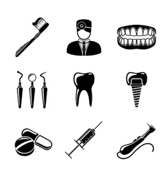 Dental icons set with - tooth jaw toothbrush vector