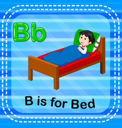 Flashcard letter b is for bed vector