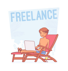 freelance happy man lineart concept vector image