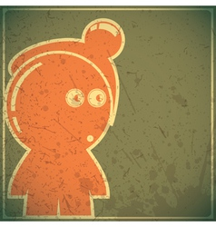 Funny character on grunge background vector