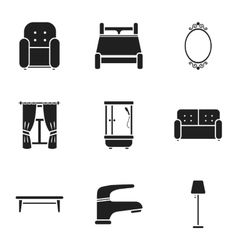 Furniture set icons in black style big collection vector