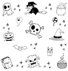Halloween witch magic doodle vector