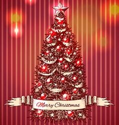 Hand drawn Christmas tree vector image