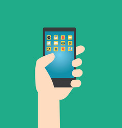 hands hold smartphone with multimedia application vector image