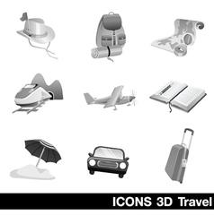 Icon set 3d travel vector