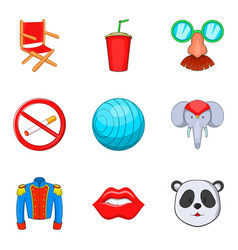 Joke icons set cartoon style vector