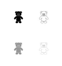 little bear black and grey set icon vector image vector image