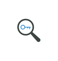 magnifying glass icon key icon vector image