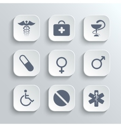 Medical icons set - white app buttons vector image vector image