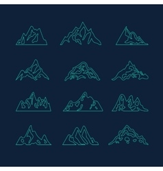 Mountain icon brush hand made stroke ink design vector image vector image
