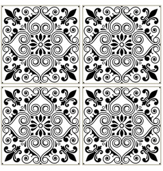 portuguese tiles pattern - azulejo black and white vector image vector image