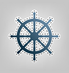 Ship wheel sign blue icon with outline vector