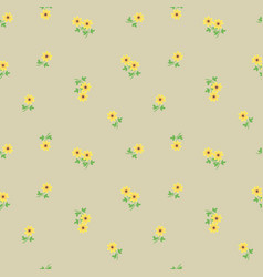small tiny yellow flowers with leaves scattered on vector image vector image
