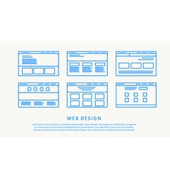 web design think line flat concept vector image