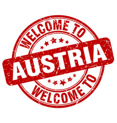 Welcome to austria red round vintage stamp vector