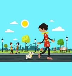 woman with dog and people in city park on vector image vector image