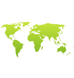 world map silhouette green gradient vector image vector image
