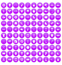 100 sport team icons set purple vector