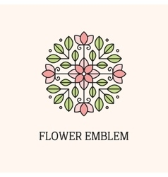 Flower linear emblem vector