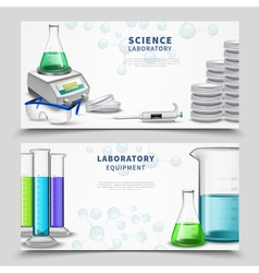 Science lab equipment banners vector