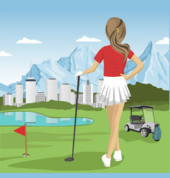 young golfer girl standing with a golf club vector image