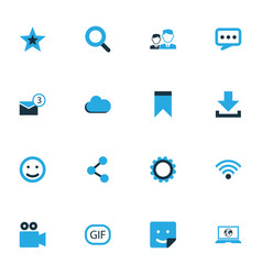 Internet colorful icons set collection of cloud vector