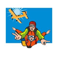 Tandem skydiving vector
