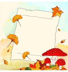 Colorful autumn background with leaf and notepaper vector