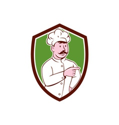Chef cook mustache pointing shield cartoon vector