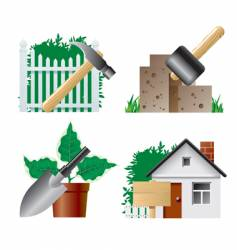 Landscaping icons vector