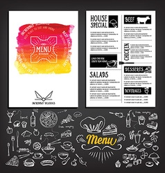 Food menu restaurant template design Flyer cafe vector image