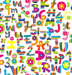Doodle letters and numbers seamless vector