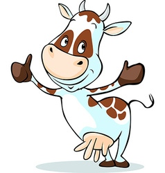 Cute cow with thumb up - isolated on white vector