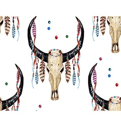 Buffalo skull and feather pattern vector