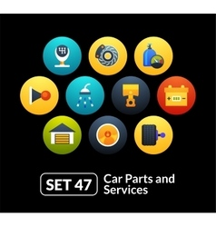 Flat icons set 47 - car parts and services vector