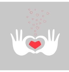 Hands heart love greeting card vector