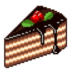 Pixel piece of cake isolated vector