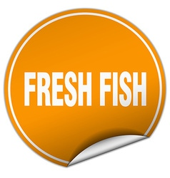Fresh fish round orange sticker isolated on white vector