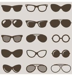 Set of brown retro sunglasses icons vector image
