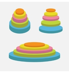 Colorful round stage podium set empty pedistal vector