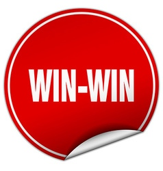 Win-win round red sticker isolated on white vector