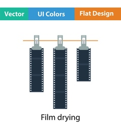 Icon of photo film drying on rope with clothespin vector