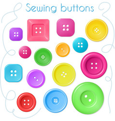 Hand drawn set of coloured sewing buttons - top vector