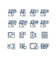 Atm terminal thin line icons set vector image vector image
