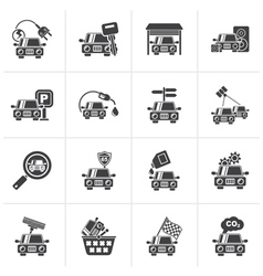 Black car and road services icons vector