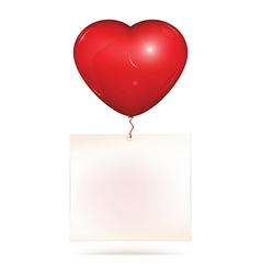 Blank paper hanging on heart balloon vector image vector image