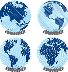 Blue Scribbled Earth vector image