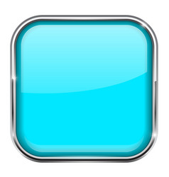 blue square button shiny 3d icon with metal frame vector image