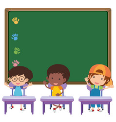 Board and children in classroom vector