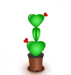 cactus with flowers hearts vector image vector image